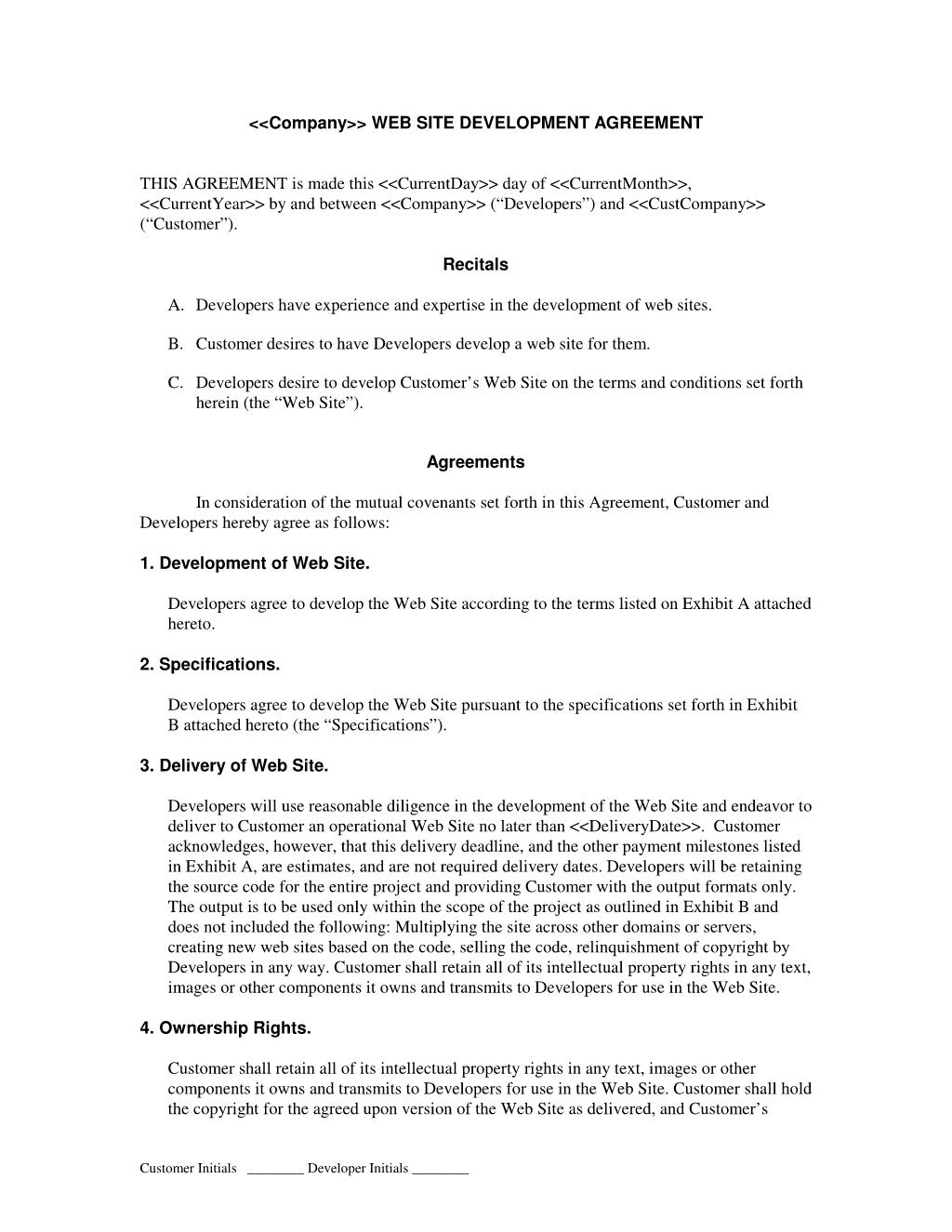 جزئیات اساسی تمپلیت قرارداد طراحی وب