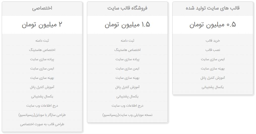 قیمت های طراحی وبسایت در دارکوب