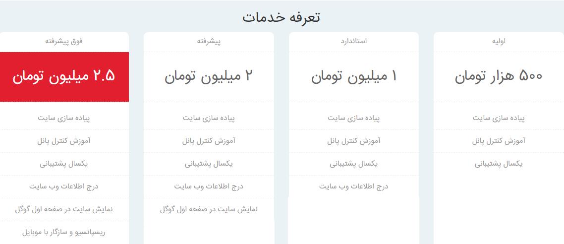 دستمزد طراحی وبسایت در ایران