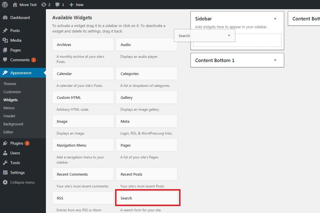ماژول جستجو و ویجت های در دسترس، از مراحل انتقال وبسایت از جوملا به وردپرس