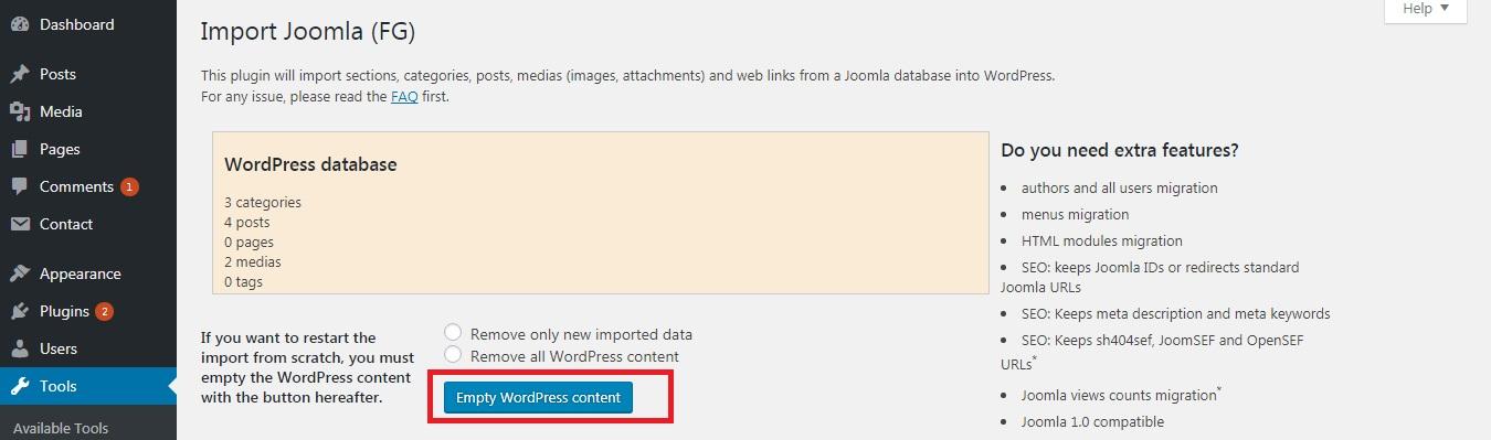 استفاده از تابع empty all WordPress content، از مراحل انتقال وبسایت از جوملا به وردپرس