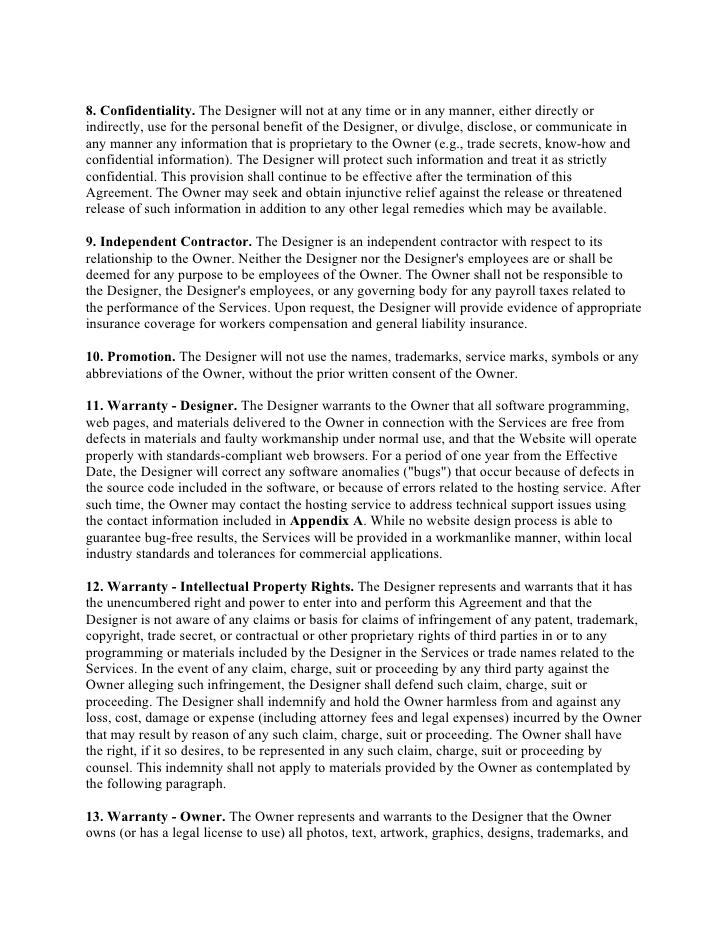 جزئیات اساسی جبران خسارت تمپلیت قرارداد طراحی وب