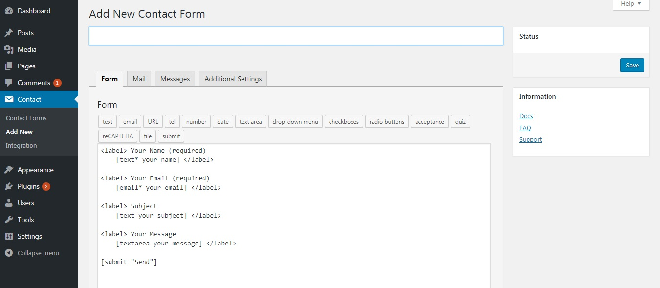 فرم های تماس در وردپرس، از مراحل انتقال وبسایت از جوملا به وردپرس