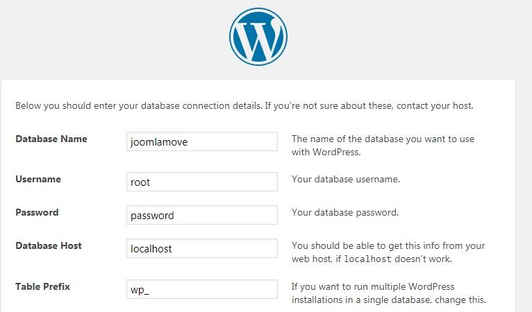 نصب WordPress در یک فولدر جدید در تنظیمات توسعه لوکال، از مراحل انتقال سایت از جوملا به وردپرس