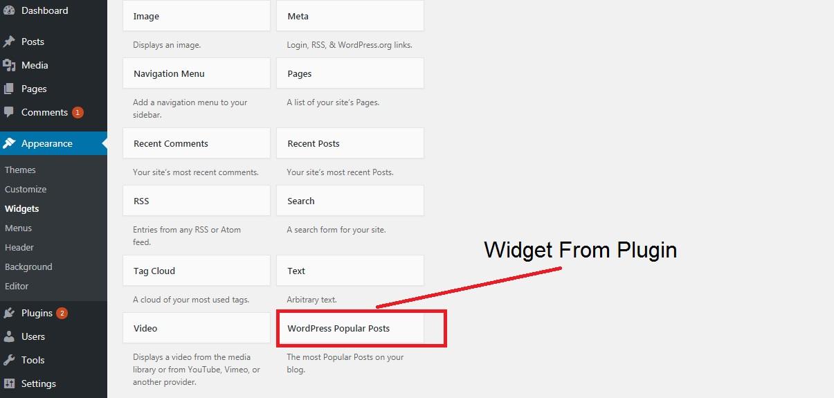 Widgets در قسمت Appearance، از مراحل انتقال وبسایت از جوملا به وردپرس